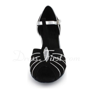 Women's Leatherette Nubuck Heels Sandals Latin Ballroom With T-Strap Dance Shoes (053021486)