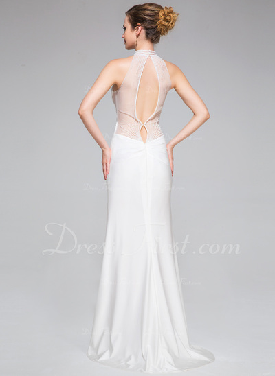 Trumpet/Mermaid High Neck Sweep Train Jersey Evening Dress With Ruffle Beading Split Front (017050397)