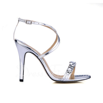 Women's Patent Leather Stiletto Heel Sandals Slingbacks With Rhinestone shoes (087016472)