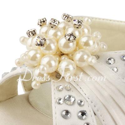 Satyna Szpilki Buty na Platformie Sandały Buty Ślubne Z Imitacja Pereł Kryształ Górski (047011804)