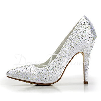 Women's Satin Cone Heel Closed Toe Platform Pumps With Rhinestone (047015278)