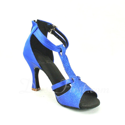 Women's Satin Leatherette Heels Sandals Latin With T-Strap Dance Shoes (053057167)