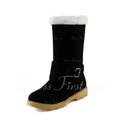 Süet Düz Topuk Mid-Buzağı Boots Kar Boots Ile Toka ayakkabı (088057347)