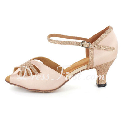 Women's Satin Sparkling Glitter Heels Sandals Latin With Ankle Strap Dance Shoes (053021560)