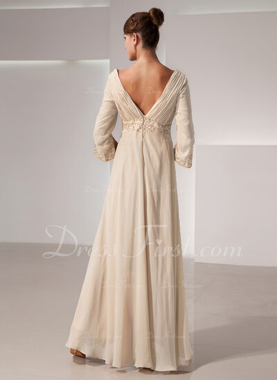 Empire V-neck Floor-Length Chiffon Mother of the Bride Dress With Ruffle Beading (008014434)