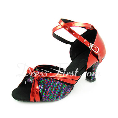 Women's Leatherette Sparkling Glitter Heels Sandals Latin With Ankle Strap Dance Shoes (053013526)