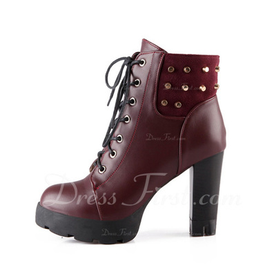 Leatherette Chunky Heel Ankle Boots With Rivet shoes (088057283)