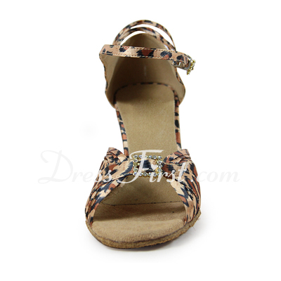 Women's Satin Heels Sandals Latin With Rhinestone Buckle Dance Shoes (053019958)