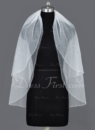 Two-tier Elbow Bridal Veils With Beaded Edge (006034206)
