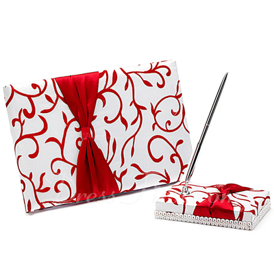 Red Vines Bow/Flower Guestbook & Pen Set (101018165)