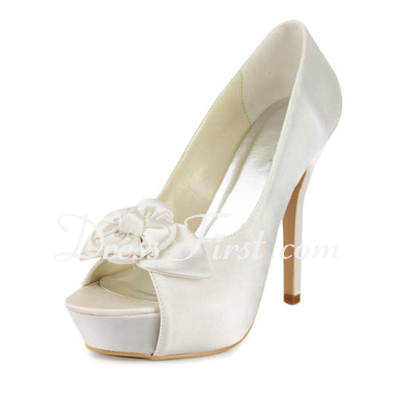 Women's Satin Stiletto Heel Peep Toe Platform Sandals With Satin Flower (047011815)