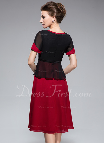 A-Line/Princess Scoop Neck Knee-Length Chiffon Mother of the Bride Dress With Bow(s) (008042832)