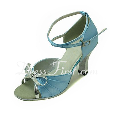 Women's Satin Leatherette Sandals Latin Ballroom With Bowknot Dance Shoes (053013448)