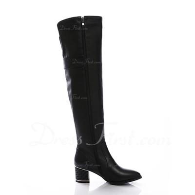 Gerçek Deri Alçak Topuk Diz Boots fazla Ile Toka ayakkabı (088057061)