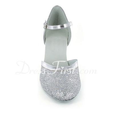 Women's Sparkling Glitter Heels Pumps Modern Ballroom With Ankle Strap Dance Shoes (053021383)