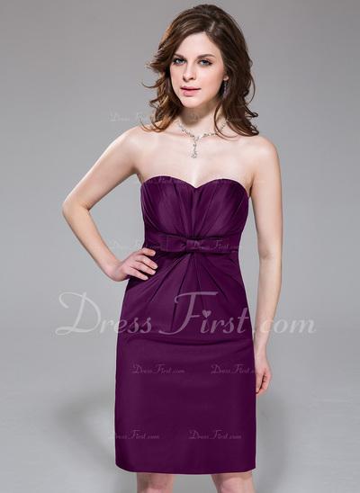 Sheath/Column Sweetheart Knee-Length Satin Bridesmaid Dress With Ruffle Bow(s) (007037301)
