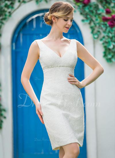 Sheath/Column V-neck Knee-Length Lace Wedding Dress With Beading (002051151)