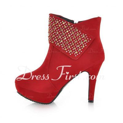 Leatherette Stiletto Heel Platform Ankle Boots With Rhinestone Zipper shoes (088036816)
