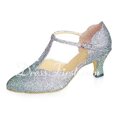 Women's Sparkling Glitter Heels Pumps Modern Ballroom With T-Strap Dance Shoes (053021407)