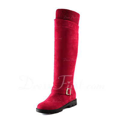 Suede Low Heel Knee High Boots Snow Boots With Buckle shoes (088057340)