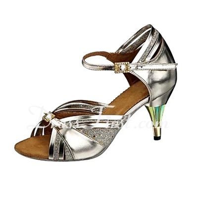 Women's Leatherette Sparkling Glitter Heels Sandals Latin With Buckle Dance Shoes (053013171)
