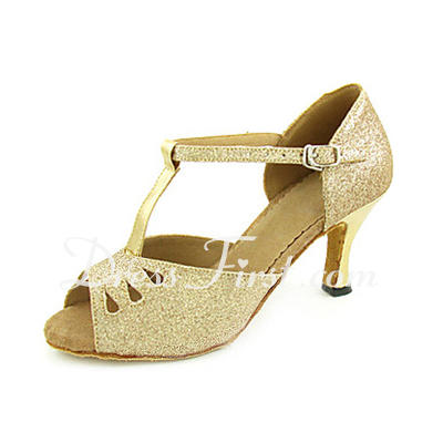 Women's Leatherette Sparkling Glitter Heels Sandals Latin With T-Strap Dance Shoes (053013251)