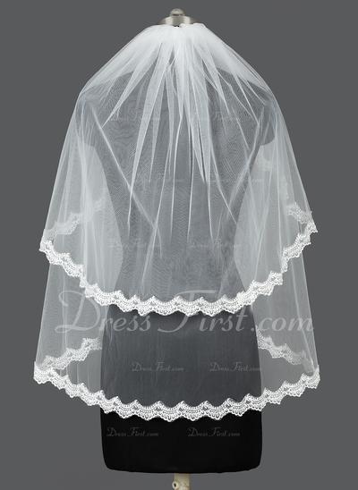 Zweischichtig Ellenbogen Braut Schleier mit Spitze Saum (006031052)