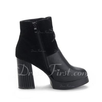 Suni deri Kalın Topuk Ayak bileği Boots Ile Bağcıklı ayakkabı (088057509)