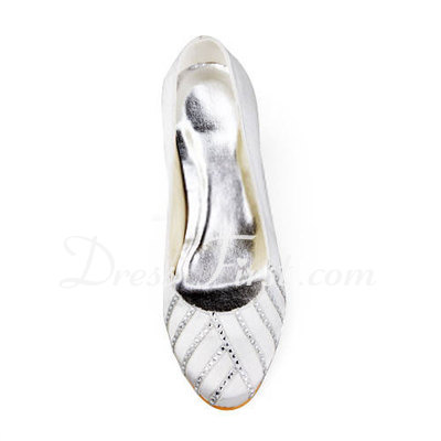 Women's Satin Stiletto Heel Closed Toe Pumps With Rhinestone (047011898)