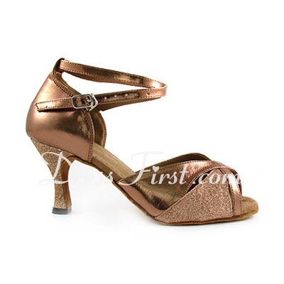 Kadın Suni deri Parlak Sim Topuk Sandalet Latin Ile Ayakkabı Askısı Dans Ayakkabıları (053013027)