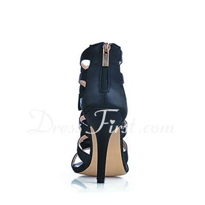 Leatherette Stiletto Heel Sandals shoes (087016543)