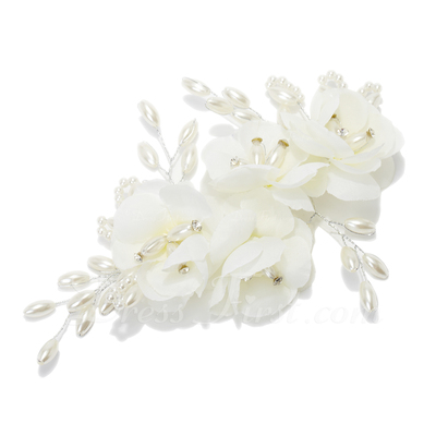 Stylish Imitation Pearls/Artificial Silk Flowers & Feathers (042057209)
