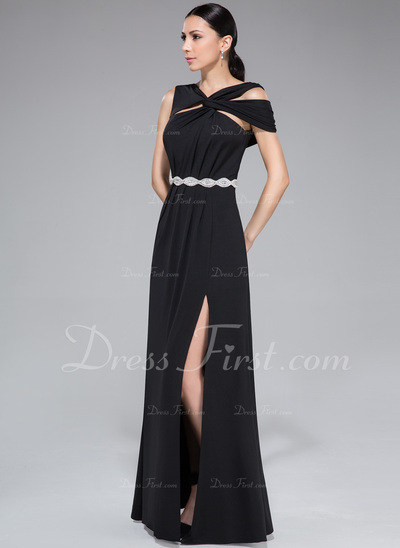 Sheath/Column Off-the-Shoulder Floor-Length Jersey Evening Dress With Ruffle Beading Split Front (017050428)