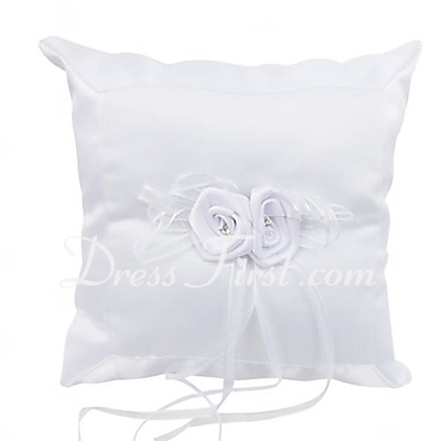 Elegant Ring Pillow in Satin With Rhinestones/Flowers (103018448)