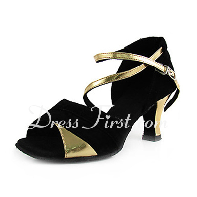 Women's Leatherette Nubuck Heels Sandals Latin With Ankle Strap Dance Shoes (053013442)