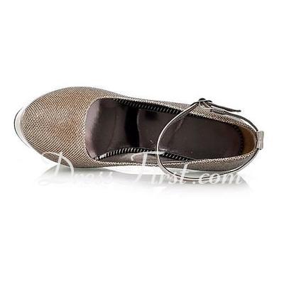 Sparkling Glitter Stiletto Heel Closed Toe Platform Pumps With Buckle (085015287)