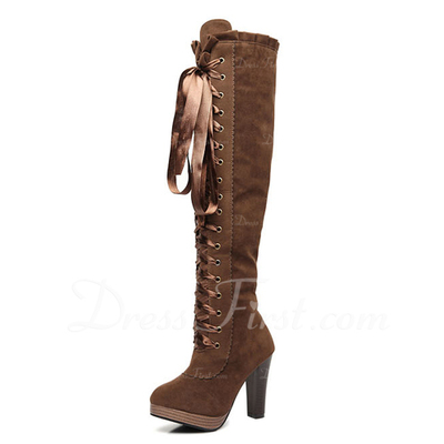 Suede Chunky Heel Knee High Boots With Lace-up shoes (088056997)