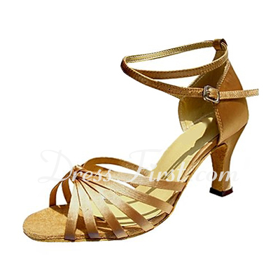 Women's Satin Heels Sandals Latin With Ankle Strap Dance Shoes (053013393)