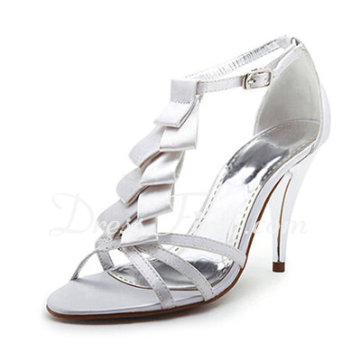 Women's Satin Stiletto Heel Peep Toe Sandals With Bowknot (047011833)