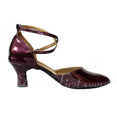 Women's Patent Leather Heels Pumps Ballroom With Ankle Strap Dance Shoes (053013045)