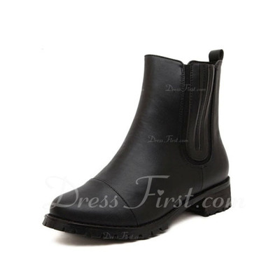 Leatherette Low Heel Ankle Boots shoes (088056638)