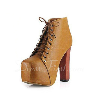 Leatherette Chunky Heel Pumps Boots Ankle Boots With Lace-up shoes (088050229)