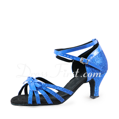 Women's Leatherette Sparkling Glitter Heels Sandals Latin With Bowknot Dance Shoes (053019977)