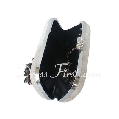 Elegant Faux Leather/Stainless Steel With Crystal/ Rhinestone Clutches (012027025)