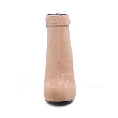 Süet Kalın Topuk Ayak bileği Boots Ile Yapay elmas ayakkabı (088056352)
