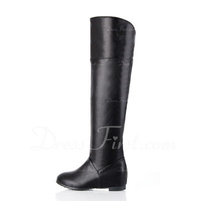 Leatherette Low Heel Knee High Boots shoes (088056002)