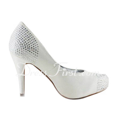 Women's Satin Stiletto Heel Closed Toe Platform Pumps With Rhinestone (047011879)