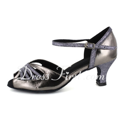 Women's Patent Leather Heels Sandals Latin With Ankle Strap Dance Shoes (053021565)