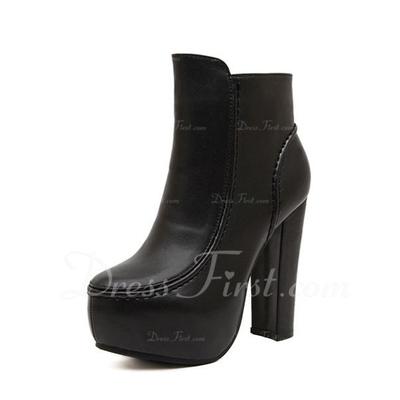 Suni deri Kalın Topuk Ayak bileği Boots ayakkabı (088056657)