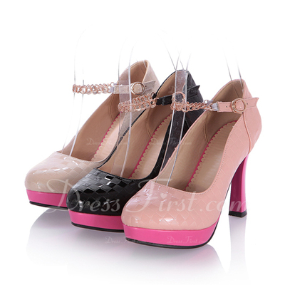 Patent Leather Chunky Heel Pumps Closed Toe With Buckle shoes (085054495)